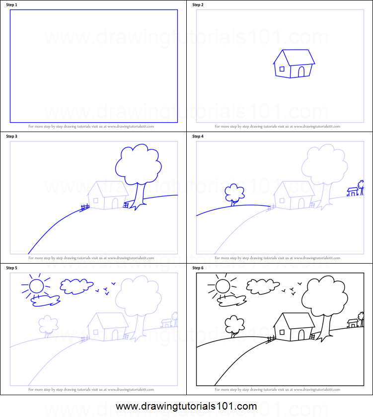 How To Draw A House Scenery For Kids Printable Step By Step Drawing Sheet Drawingtutorials101 Com