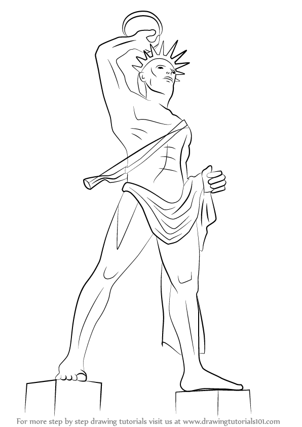 Step By Step How To Draw Colossus Of Rhodes