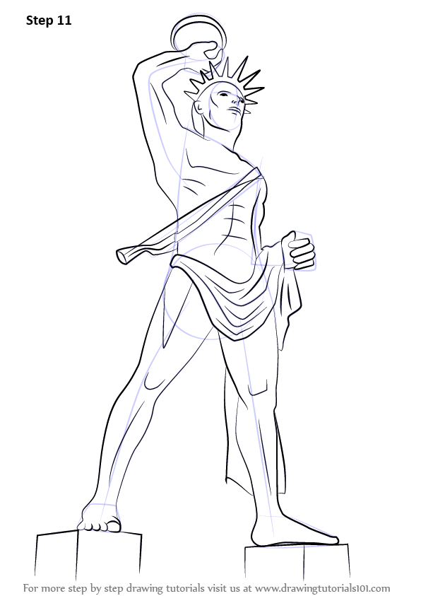 Learn How To Draw Colossus Of Rhodes Statues Step By
