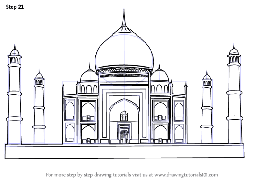 learn how to draw taj mahal wonders of the world step by