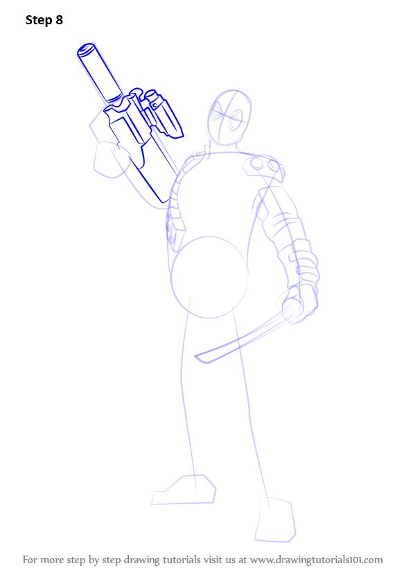Learn How To Draw Deadpool With A Gun Deadpool Step By