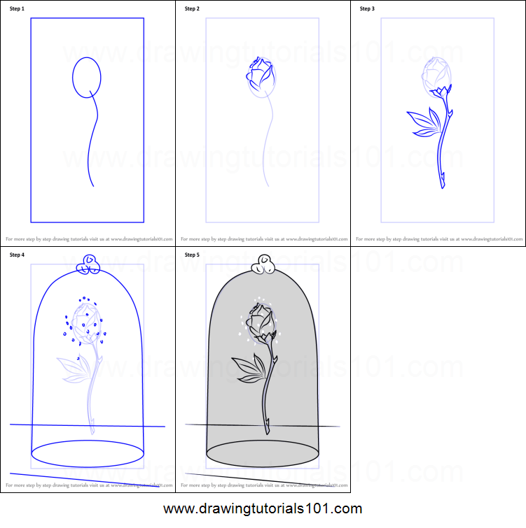 How To Draw The Enchanted Rose From Beauty And Beast Printable Step 5