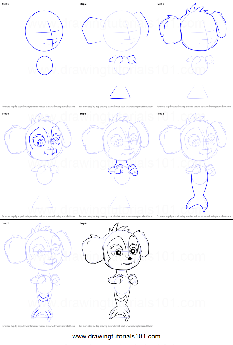 How To Draw Baby Mer Pup From Paw Patrol Printable Step By Step