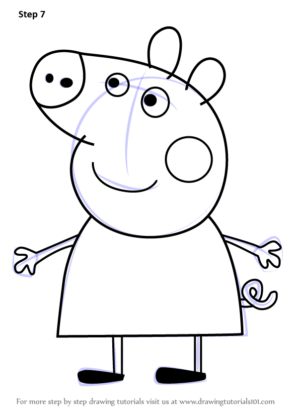 Learn How To Draw Peppa Pig From Peppa Pig Peppa Pig Step By Step Drawing Tutorials
