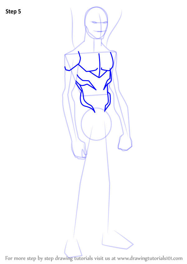 Step By Step How To Draw Blue Beetle From Young Justice