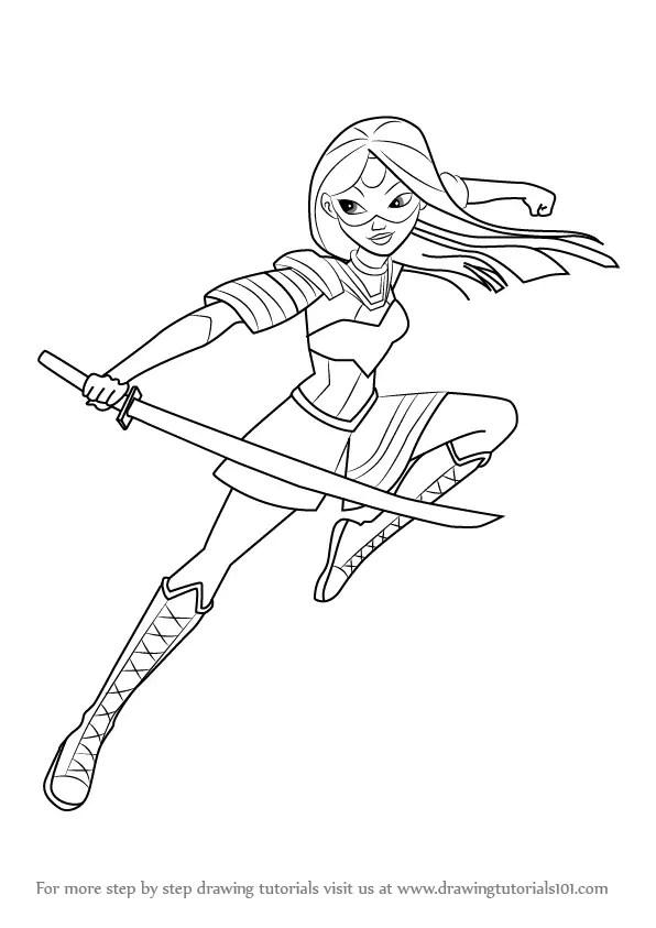 learn how to draw katana from dc super hero girls dc super hero girls