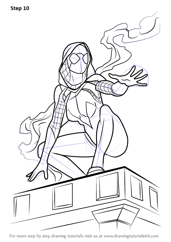 Learn How To Draw Spider Gwen Marvel Comics Step By Step