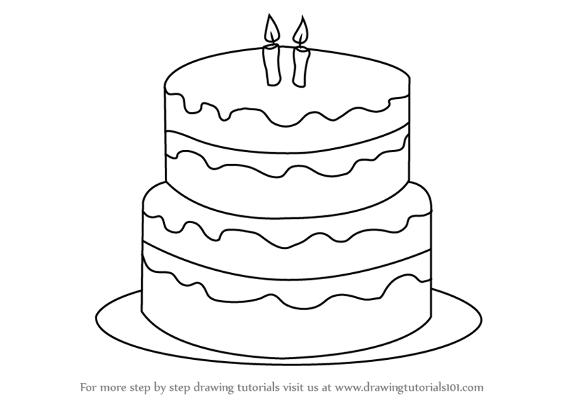 Learn How To Draw A Birthday Cake Cakes Step By Step Drawing Tutorials