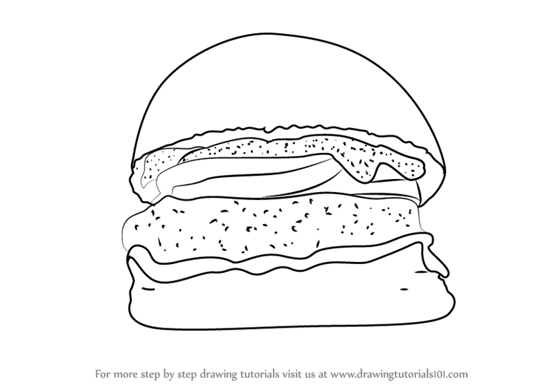 Learn How To Draw A Burger Snacks Step By Step Drawing Tutorials