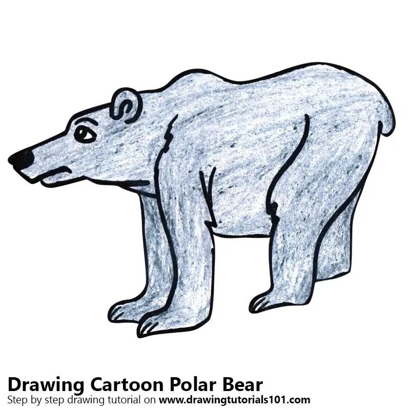 Cartoon Polar Bear Colored Pencils Drawing Cartoon Polar Bear With Color Pencils Drawingtutorials101 Com