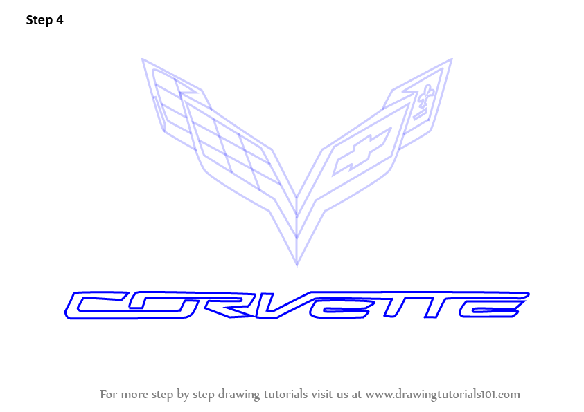 Learn How To Draw Corvette Logo Brand Logos Step By Step