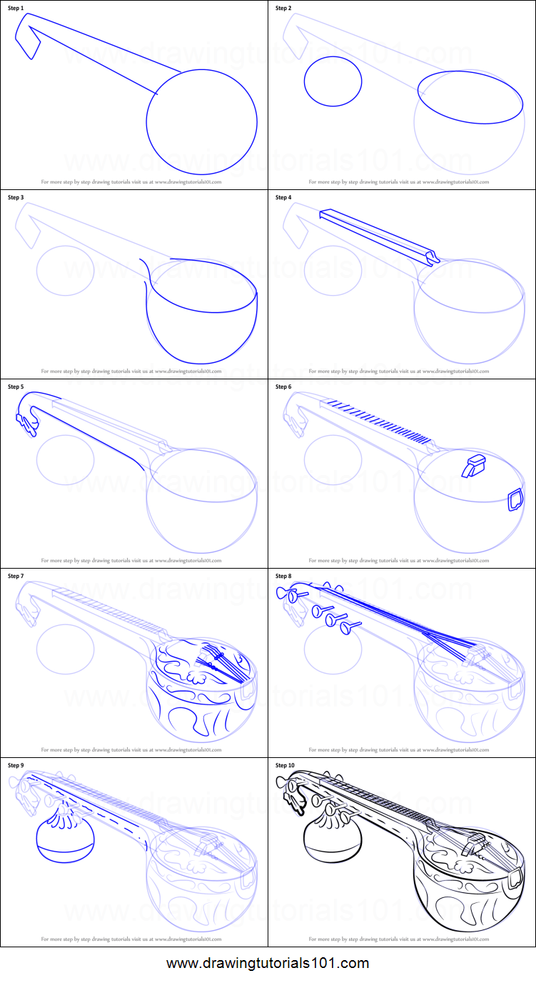 how to draw a veena printable step by step drawing sheet