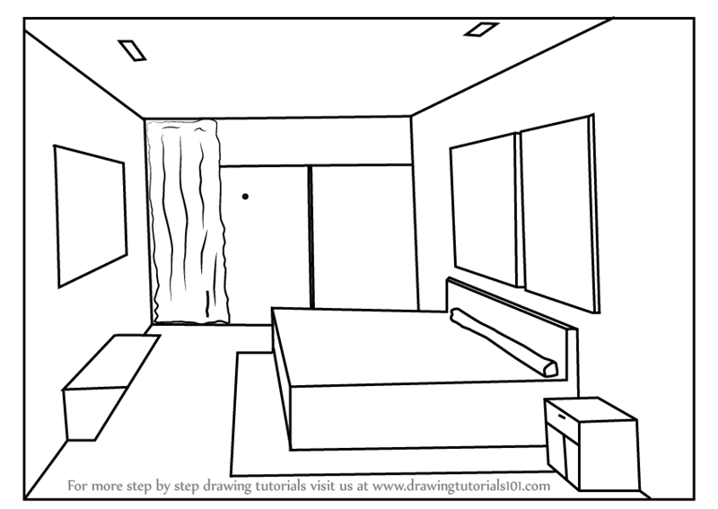 to draw one point perspective bedroom