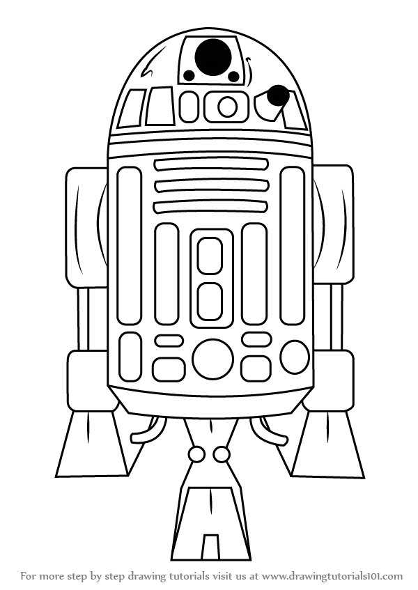 learn how to draw r2d2 from star wars (star wars) step