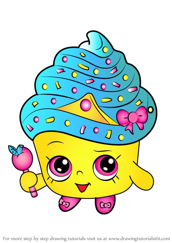 Learn How To Draw Cupcake Queen From Shopkins Shopkins