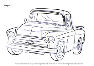 Learn How to Draw a 1955 Chevy Truck (Trucks) Step by Step