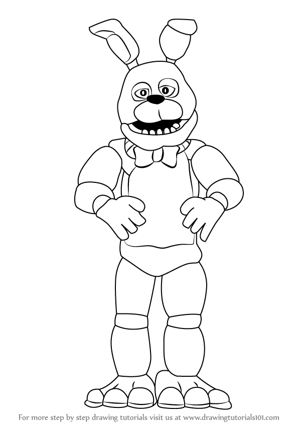 learn how to draw bonnie (five nights at freddy's) step