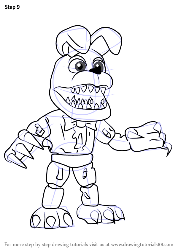 learn how to draw nightmare bonnie from five nights at