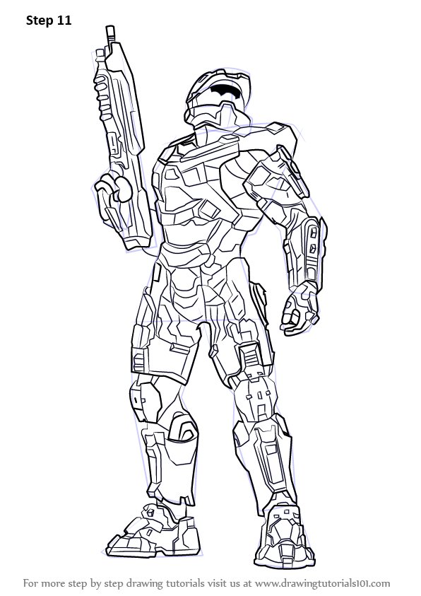 Step step how draw master chief halo, girl coloring pages