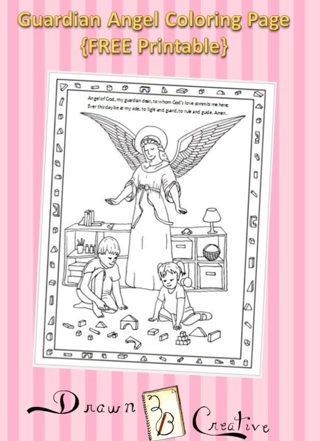 Guardian angel coloring page drawn2bcreative for Guardian angel prayer coloring page