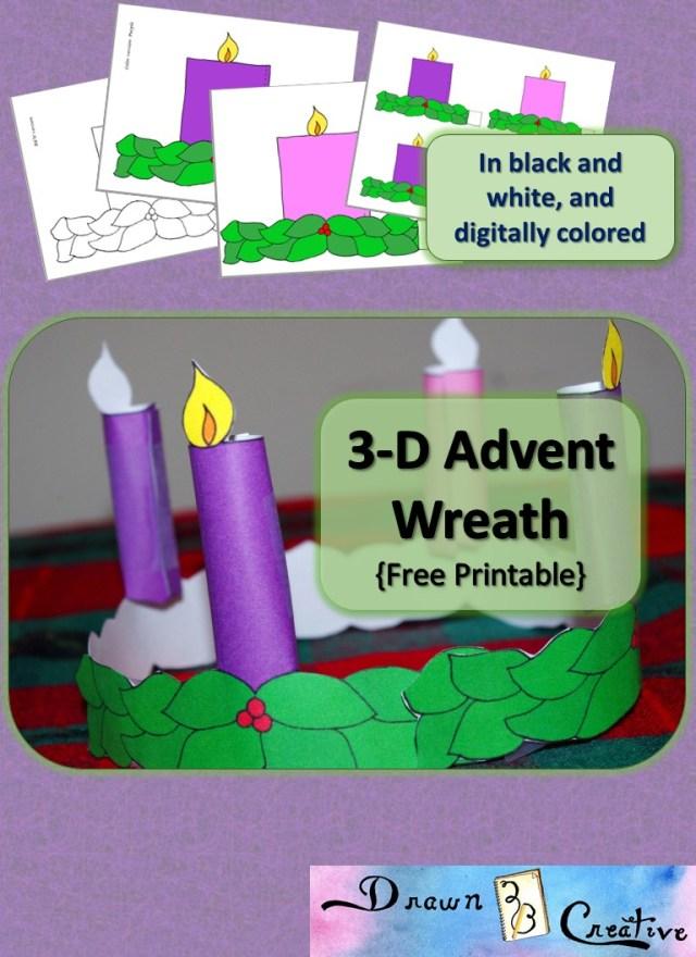 288-D Printable Advent Wreath - Drawn28BCreative