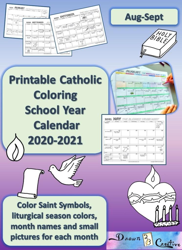 Free Printable Catholic Liturgical Calendar 2020 : printable, catholic, liturgical, calendar, Printable, Catholic, School, Calendar, Color, Drawn2BCreative