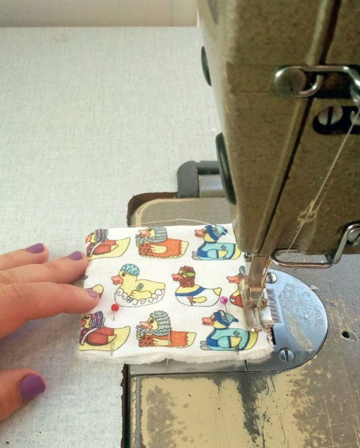 Rubber duck reusable makeup remover pads being made by hand