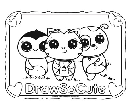 cute pictures coloring pages | Free Selfie Coloring Page – Draw So Cute