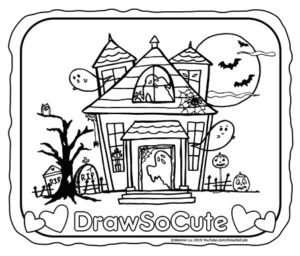halloween haunted house coloring page  draw so cute