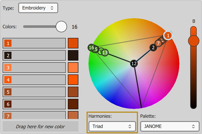 Color harmonies added for getting beautiful color combinations