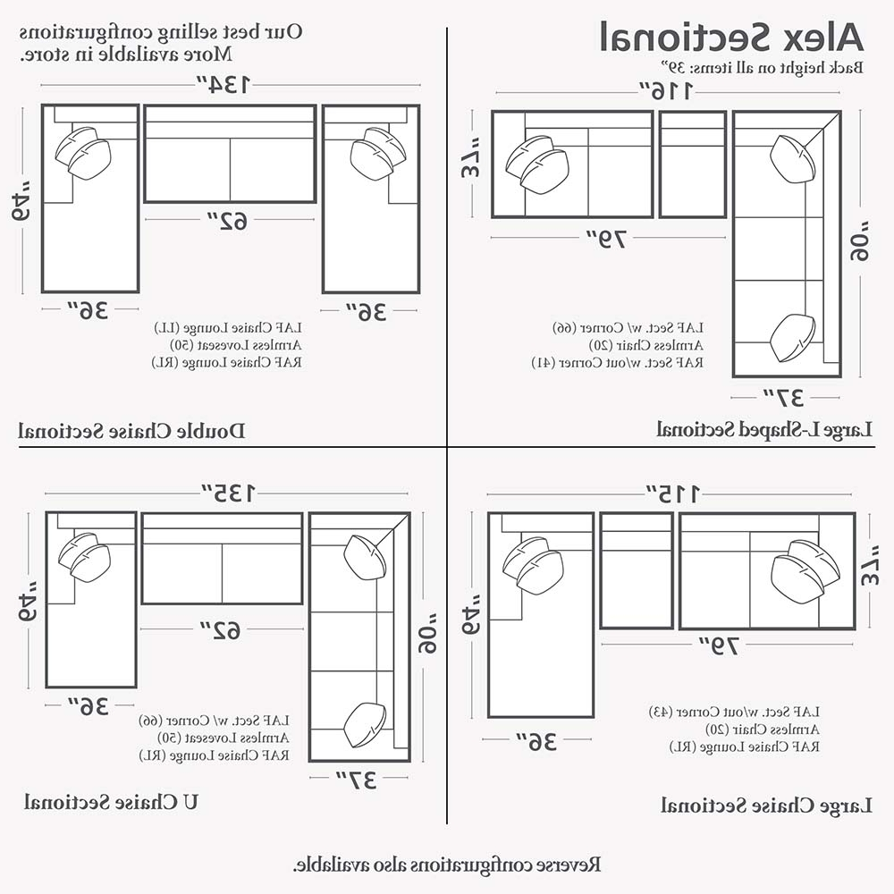 gallery of measurements sectional sofas