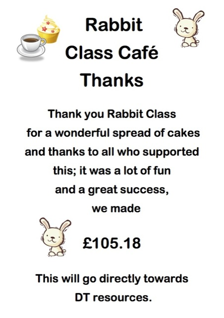 Rabbit Class Cake Sale Thank You