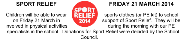 Sport Relief - Friday 21st March 2014