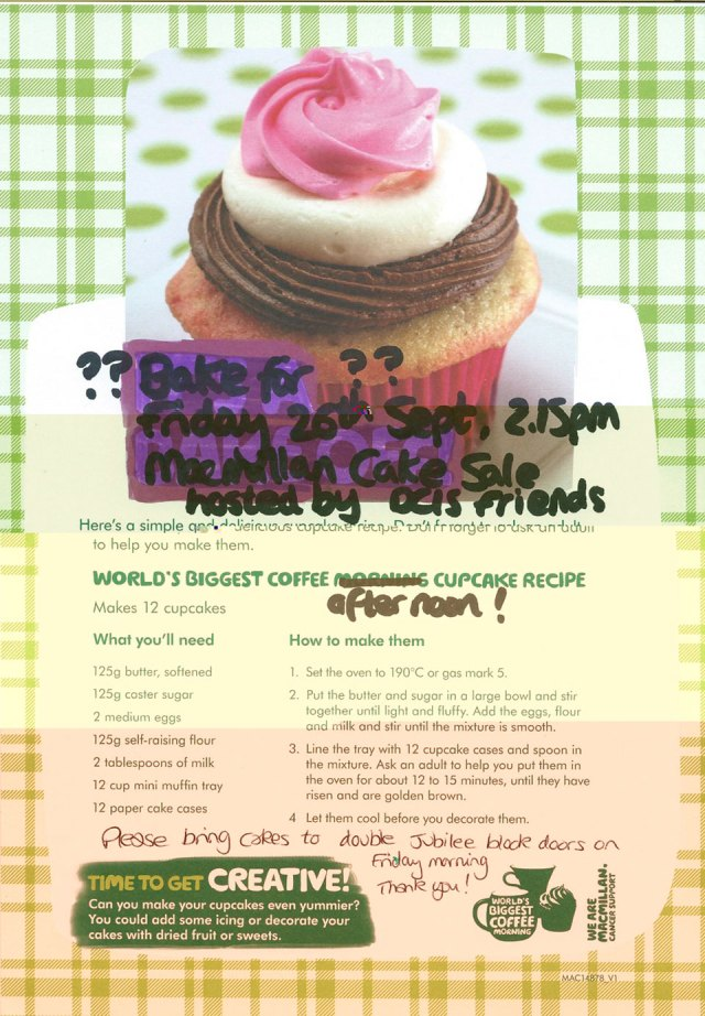 DCIS Friends Macmillan Cake Sale Please Bring Cakes