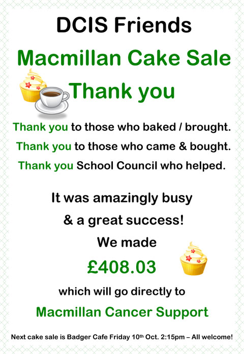 Macmillan Cake Sale Thank You