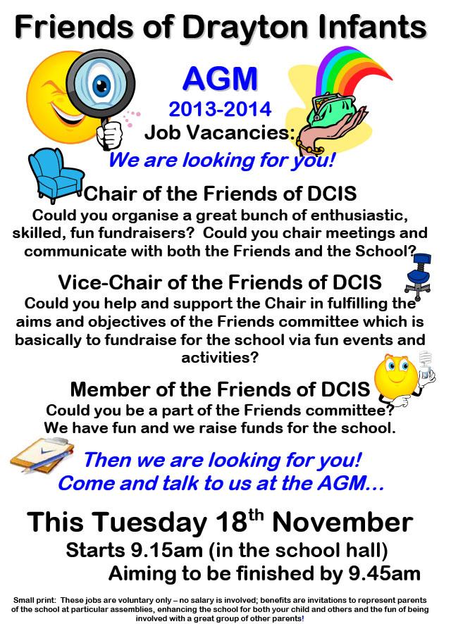 Friends AGM Job Vacancies apply Tues 18 Nov 2014