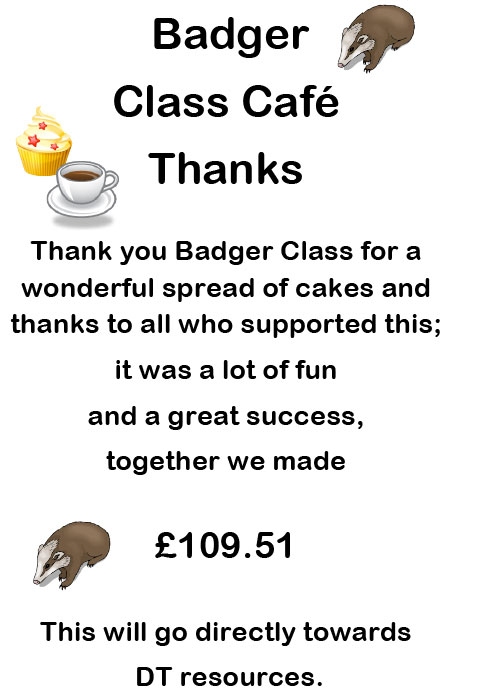 Cake Sale Class Thank you Poster 2014-15 Badger