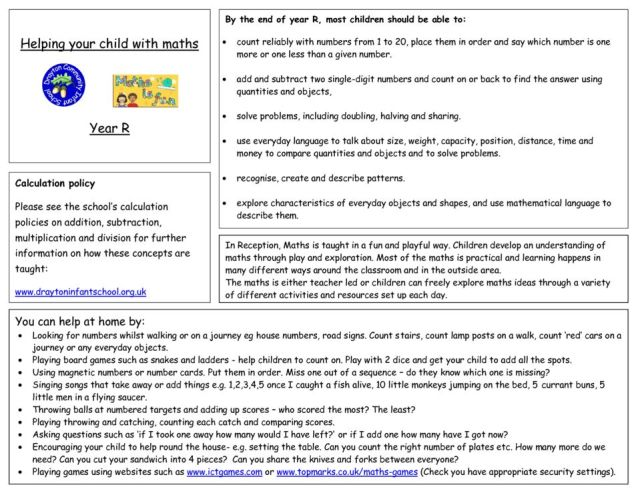 thumbnail of Helping Your Child With Maths Year R