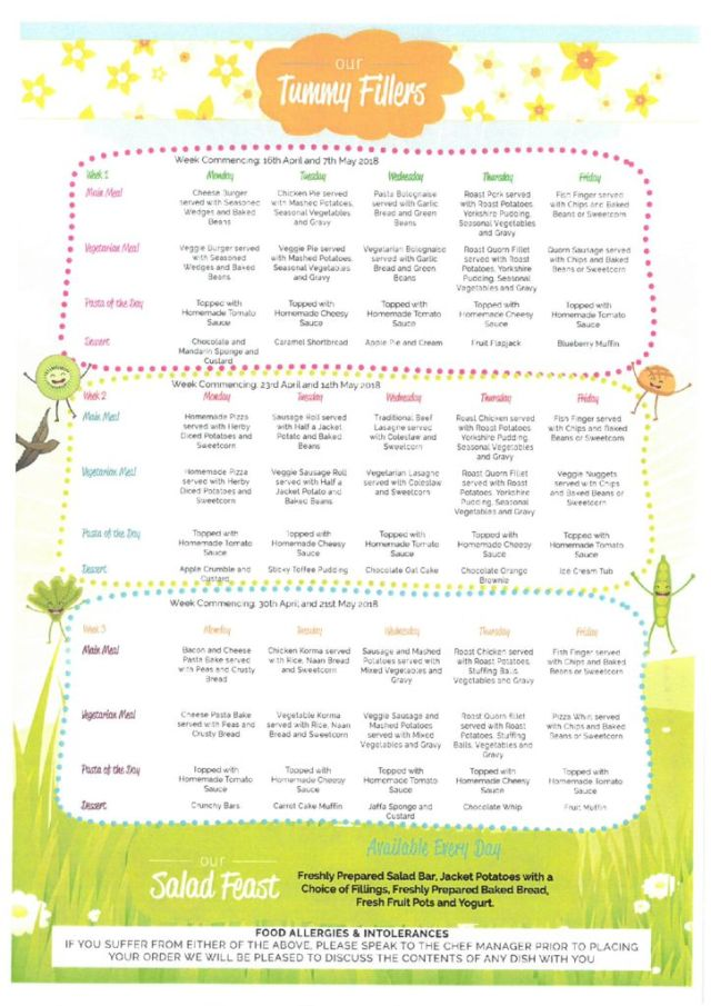 thumbnail of School Meals Spring April & May 2018