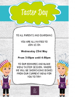 Parents menu taster session 23 May 18