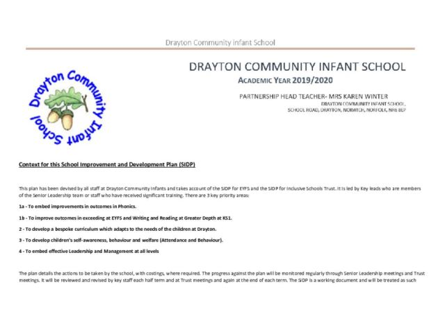 thumbnail of SIP Drayton – Curriculum Development – 2019 2020