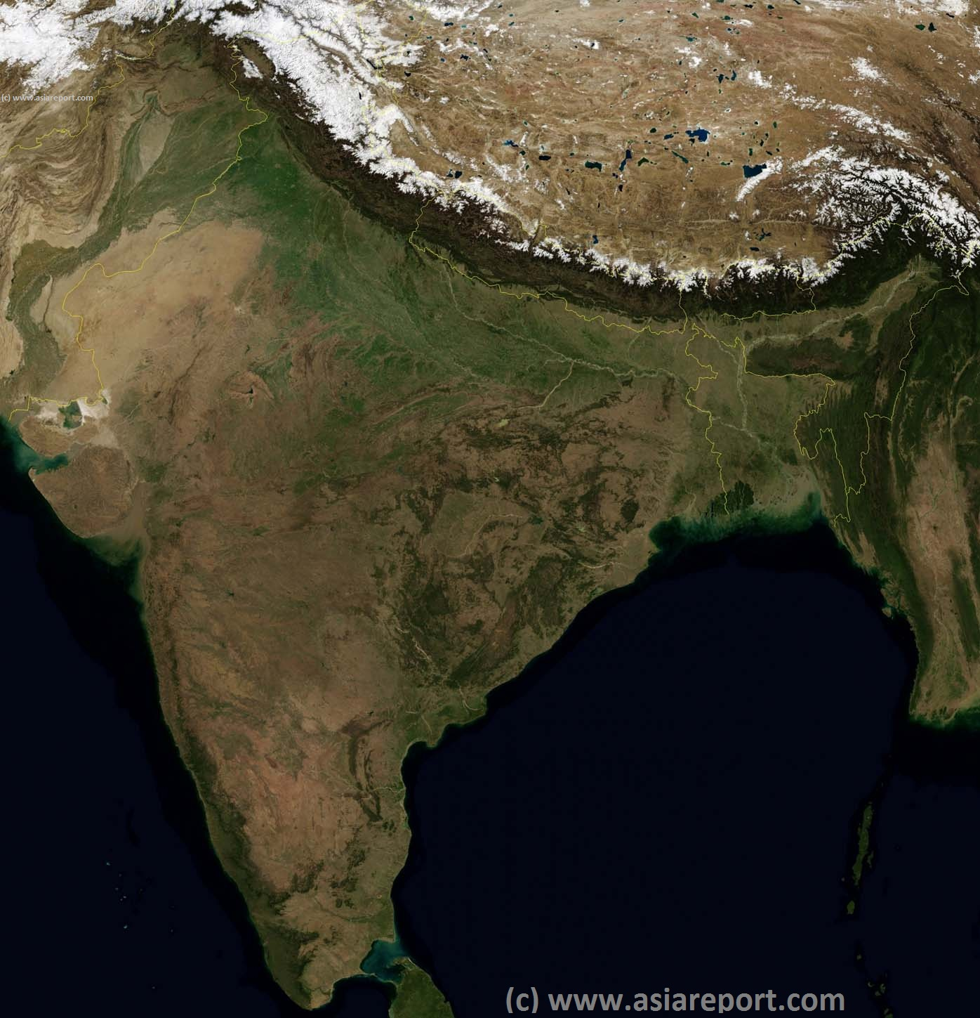 Map Satellite India  Pakistan  Nepal  Bhutan  Tibet AR  Bangladesh 01A Asia Report   India Maps   India  Pakistan  Tibet  Bangladesh Satellite  Image Based Map Overview 01A