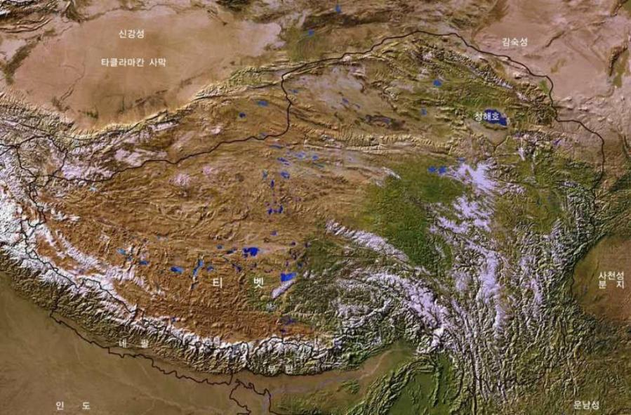 Map of Tibetan Plateaux   Satellite Image Overview 01A  by The China     Satellite Image Map of Tibetan Plateaux explained