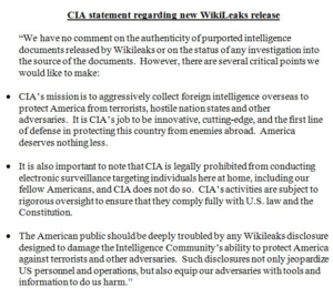 CIA statement about Wikileaks