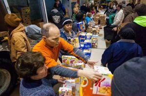 Distributing a Mobile Pantry at Feeding America in Muskegon, Michigan