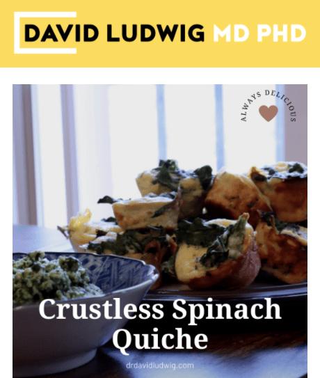 Crustless spinach quiche Newsletter