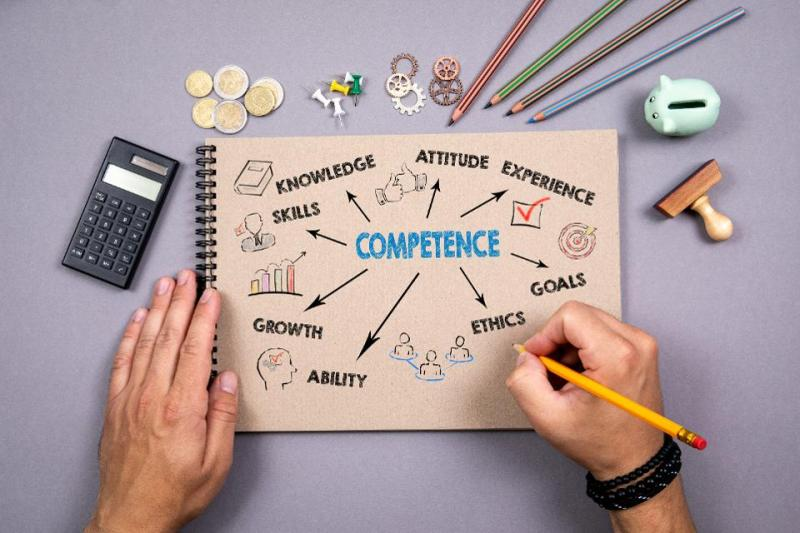 Competence. Chart with keywords