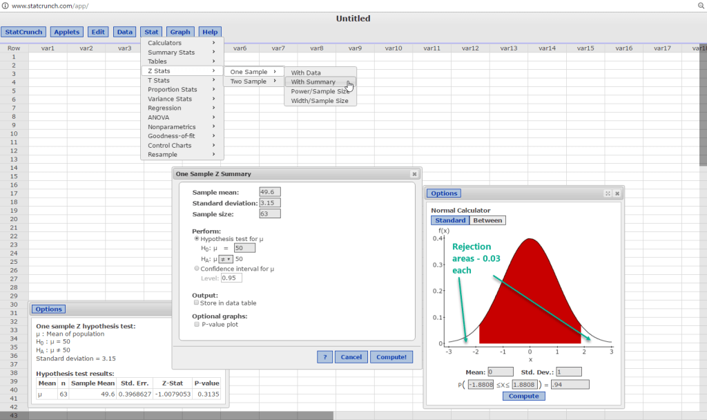 Using StatCrunch to solve the Problem