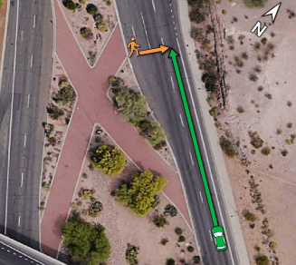 Location of the crash on northbound Mill Avenue, showing the paths of the pedestrian in orange and of the Uber test vehicle in green.