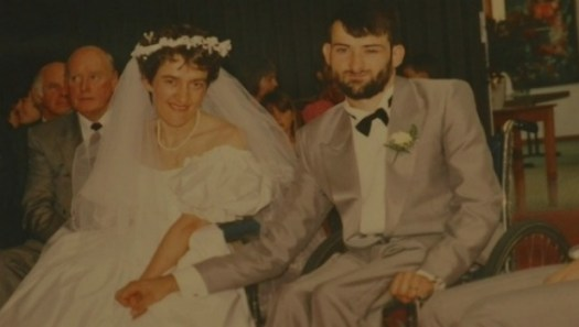 David Heckendorf and his wife Jenni on their wedding day.